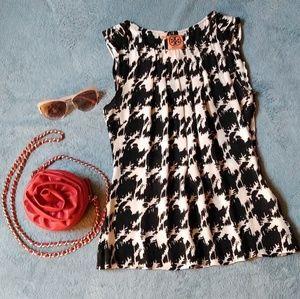 TORY BURCH 100% silk Royal white and black blouse